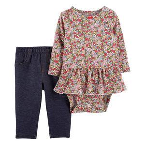 New Carters Baby Girl Bodysuit & Leggings Set